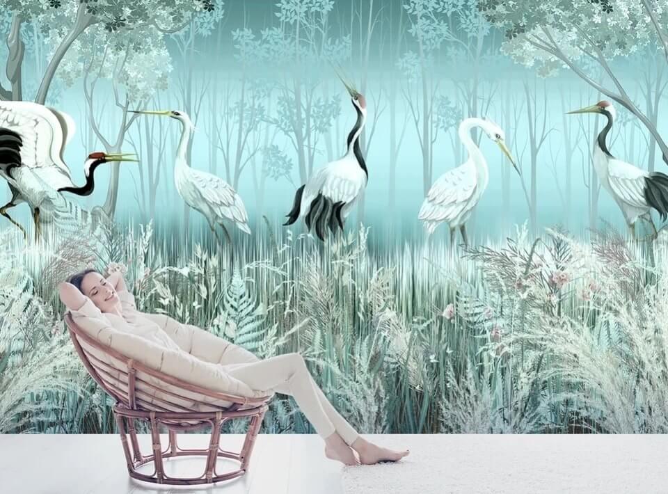 фотообои птицы журавли на стену купить. птицы обои красивые на заказ по своим размерам