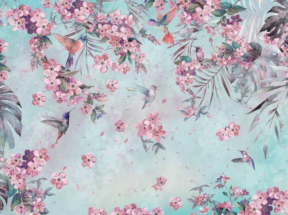 фреска на стену. фотообои колибри купить по своим размерам. фотообои птицы с листьями