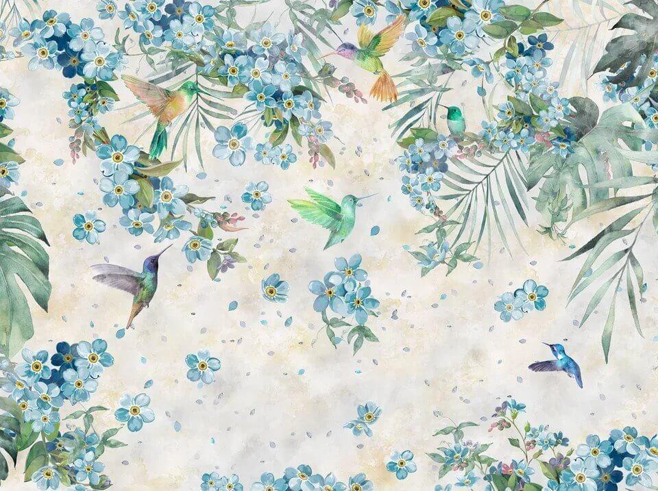 фреска на стену. фотообои с птицами. фотообои райский сад с птицами купить на стену