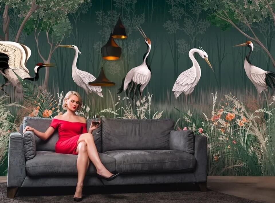 фреска для детей купить. фотообои зеленый фон. фотообои птицы.