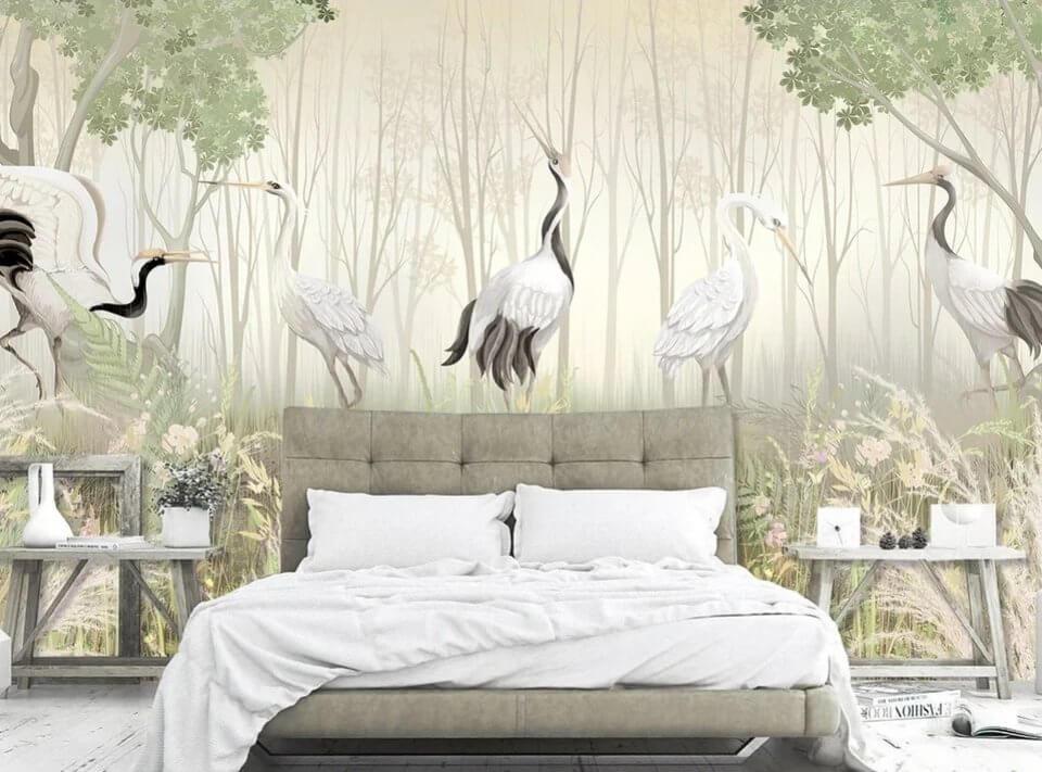 \журавли в чаще леса красивые обои для спальни фрески на стену купить в новосибирске. светло бежевый цвет обоев. фотообои птицы на светлом фоне.