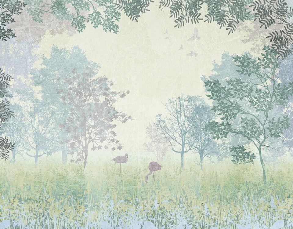 зеленая поляна с фламинго деревья на поляне