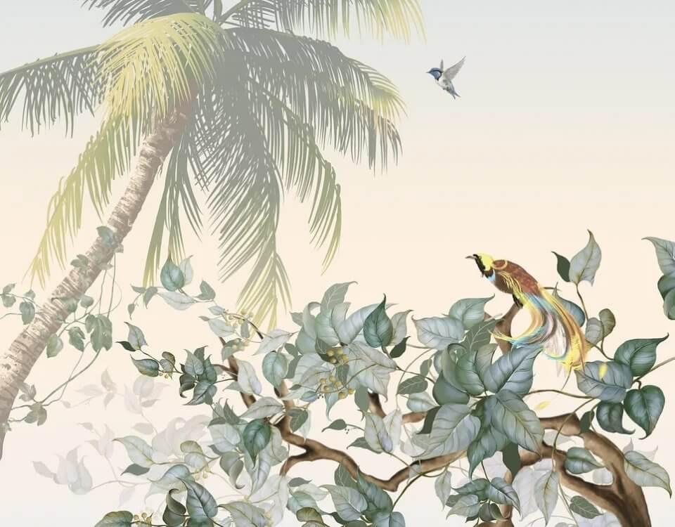 пальма на светлом фоне дерево с птицами красивые обои