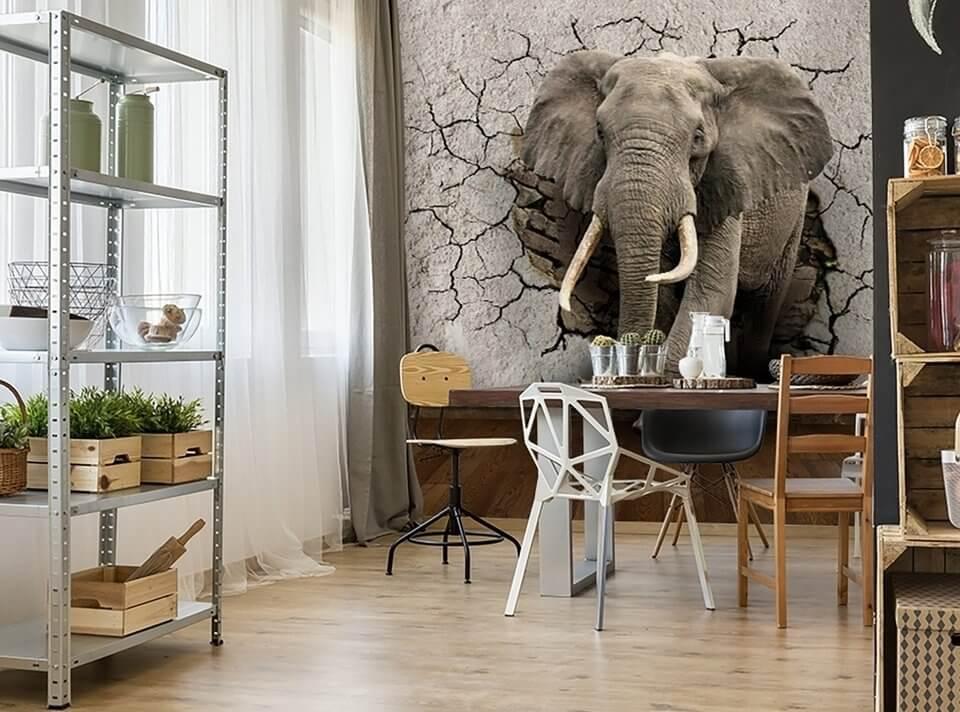 фотообои слон +в стене