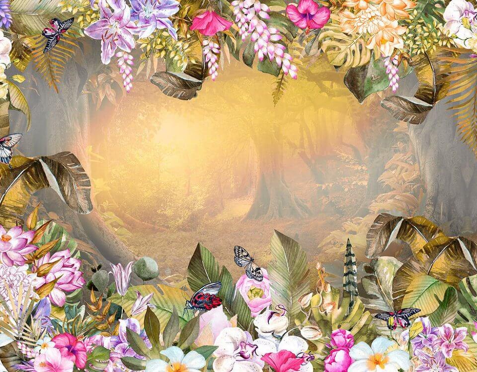 фотообои крупные яркие цветы украшают вход в лес обои