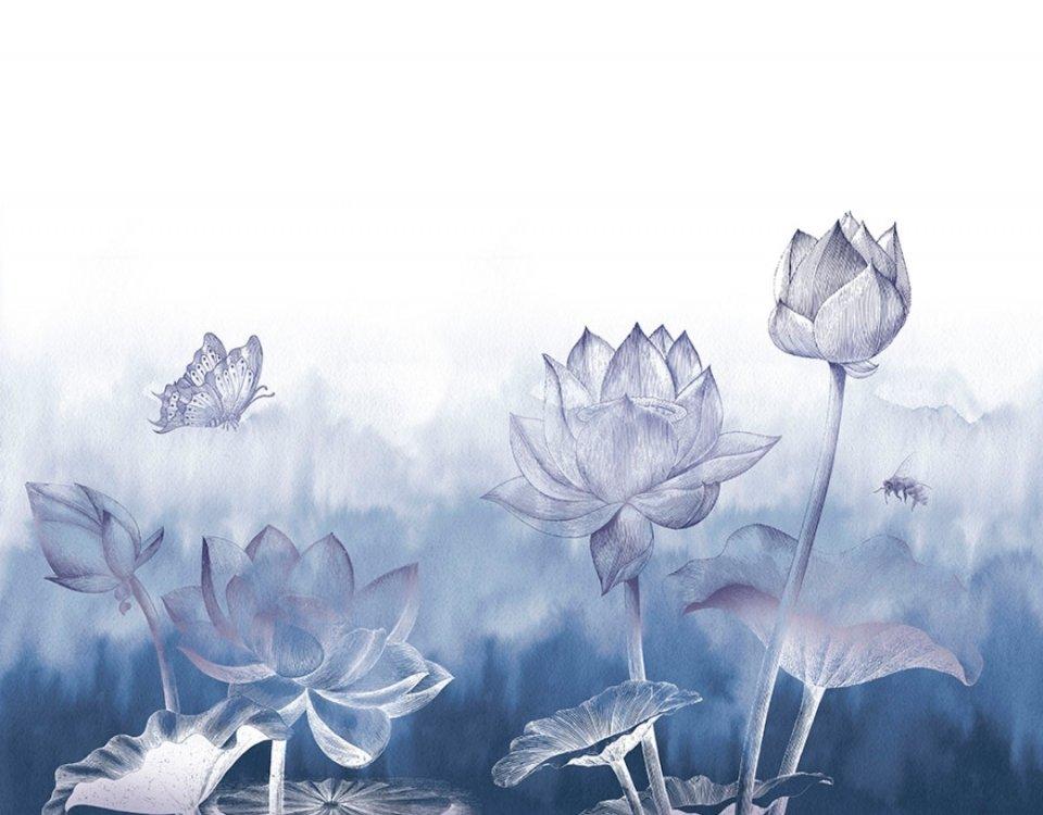 синие цветки лотоса акварель красивые цветы обои на стену