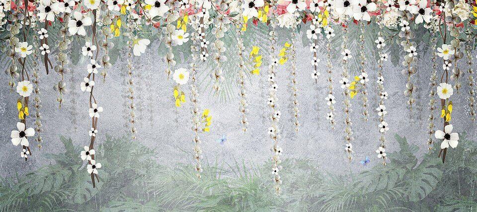 тропические листья и цветы свисающие вниз