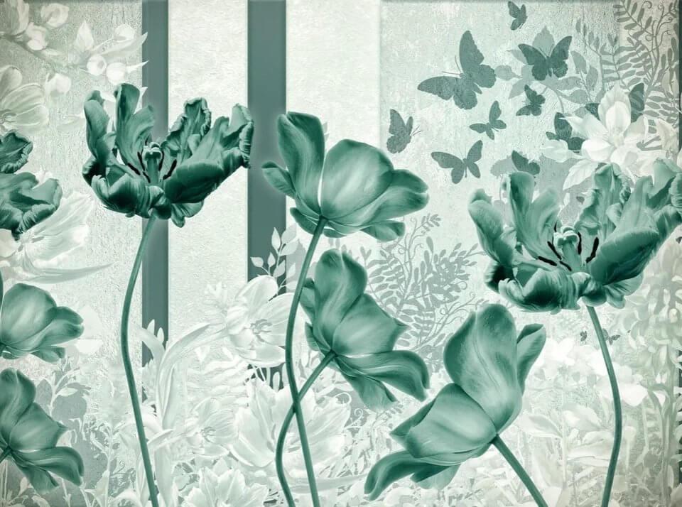 зеленые фотообои тюльпаны на бесшовных фактурах. Флизелиновые обои бутоны тюльпанов