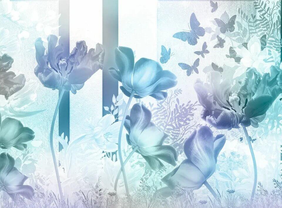 голубые фотообои цветы и бабочки