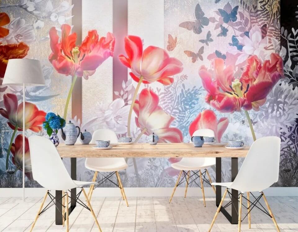 фотообои красные тюльпаны. фотообои бутоны цветов купить