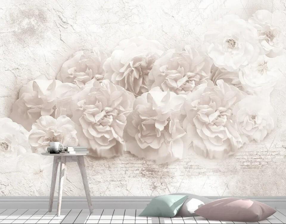 обои пионы на белом фоне. красивые фотообои цветы