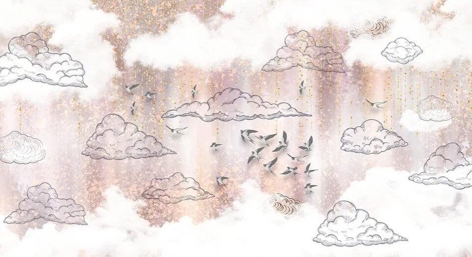 фотообои облака и ласточки. необычные фотообои купить на заказ