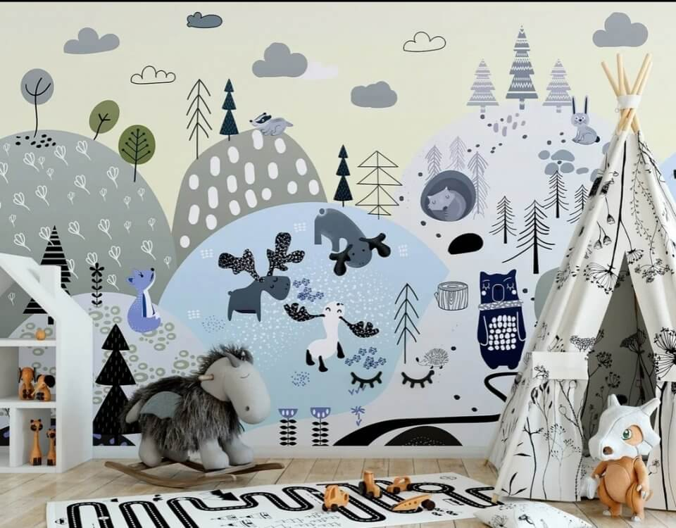 детские фотообои скандинавский стиль для детской купить