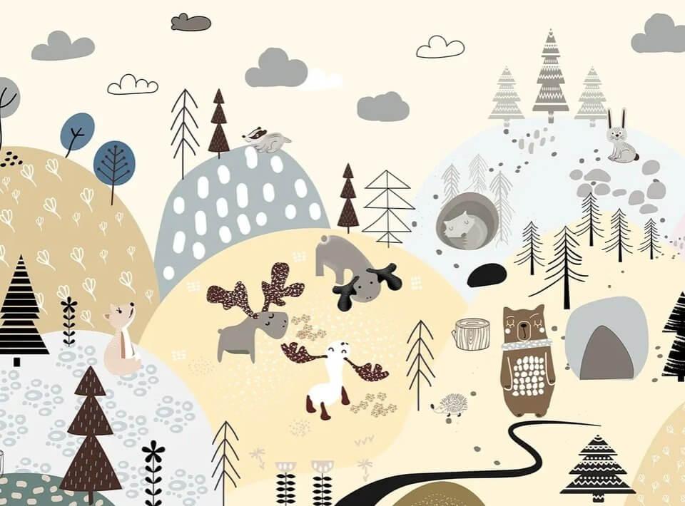 светлые фотообои поляна для детей. фотообои скандинавский стиль