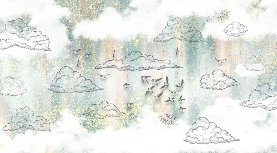фотообои ласточки на небе. фотообои облака купить по своим размерам