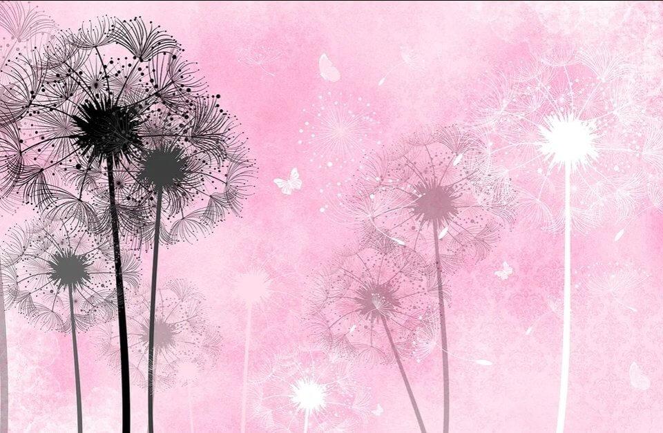 фотообои одуванчики на розовом фоне. обои с одуванчиками купить на флизелине