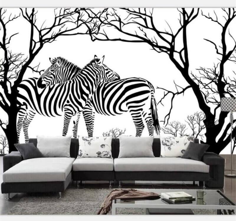 зебры в деревьях черно белые обои с животными