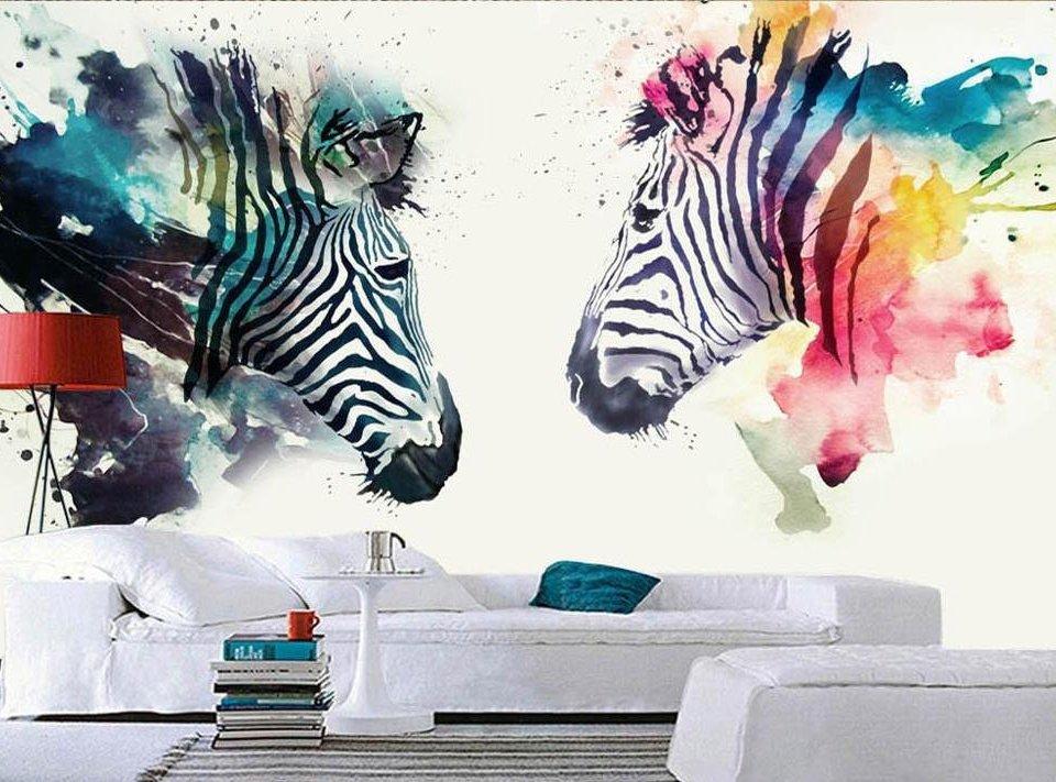 зебры в краске яркие обои на стену принты с зебрами абстракция