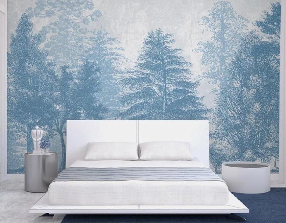 фреска на стену лес