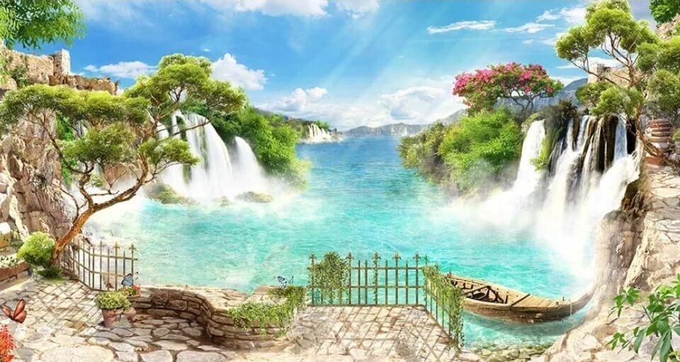 фреска водопад