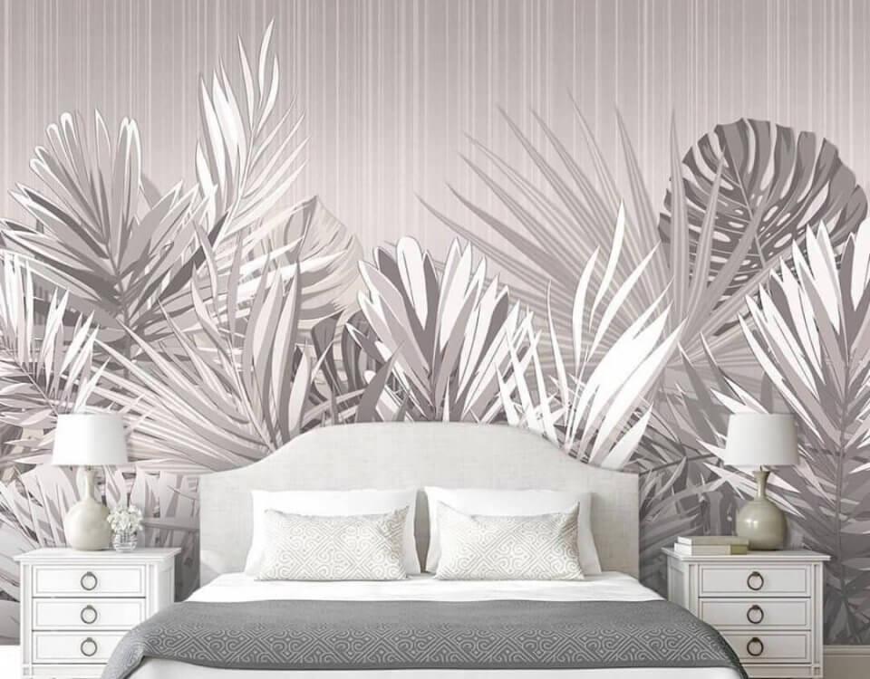 фотообои белые с крупные листья на стену