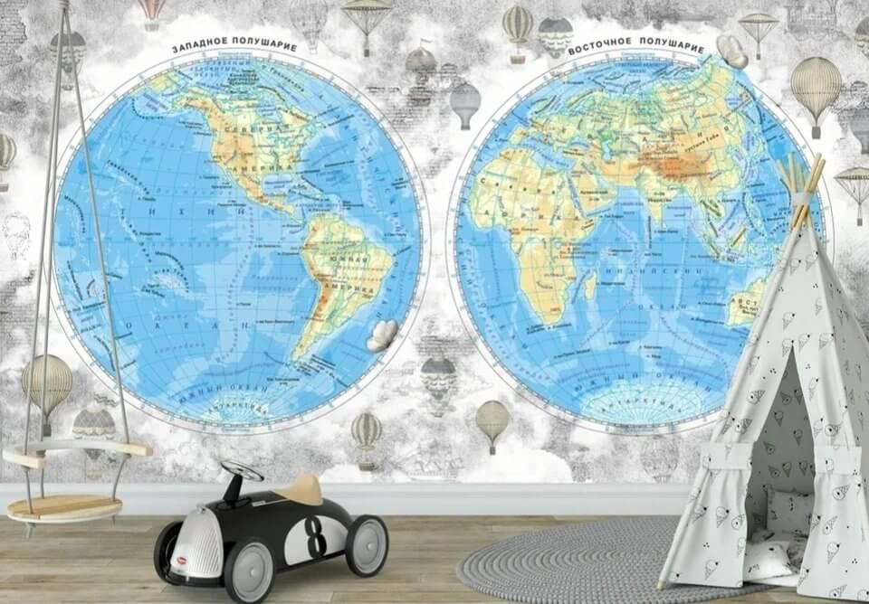 photo wallpaper world map with hemispheres