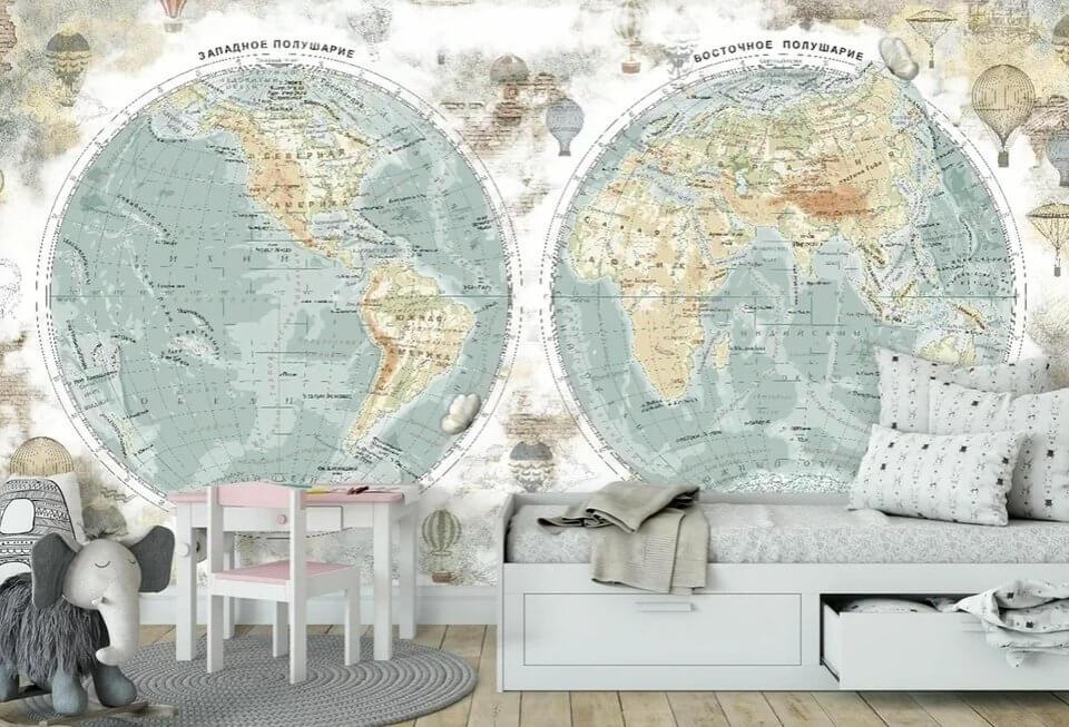 фотообои карта мира купить