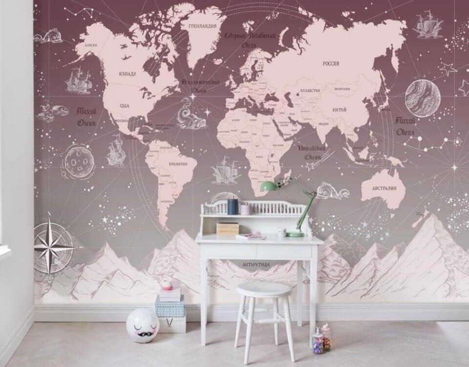 фотообои карта мира для детей на стену