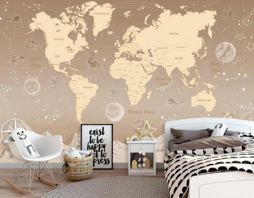 фотообои карта мира на стену купить