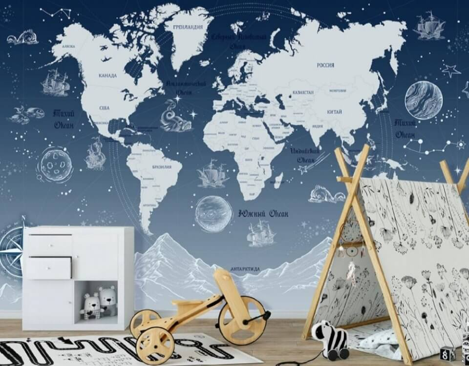 photo wallpaper world map in Russian