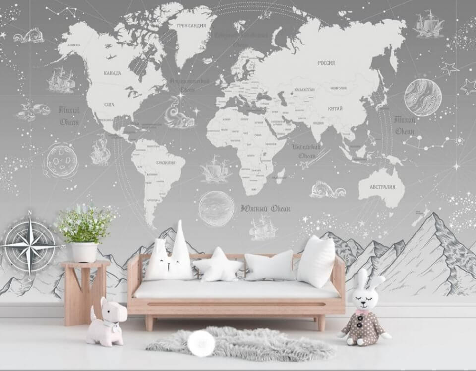 photo wallpaper world map in Russian