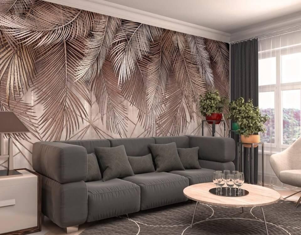 фотообои с ветками пальмы