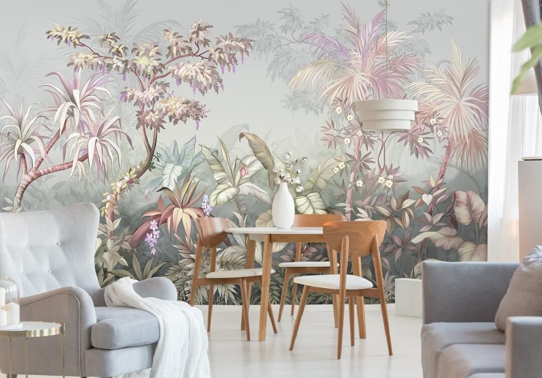 photo wallpaper on the wall with a tropical forest
