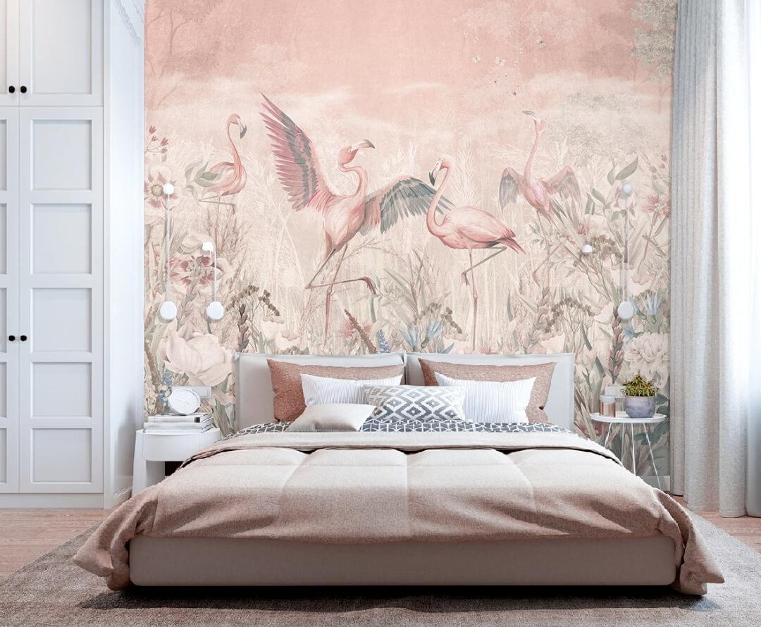 фотообои розовый фламинго на стену