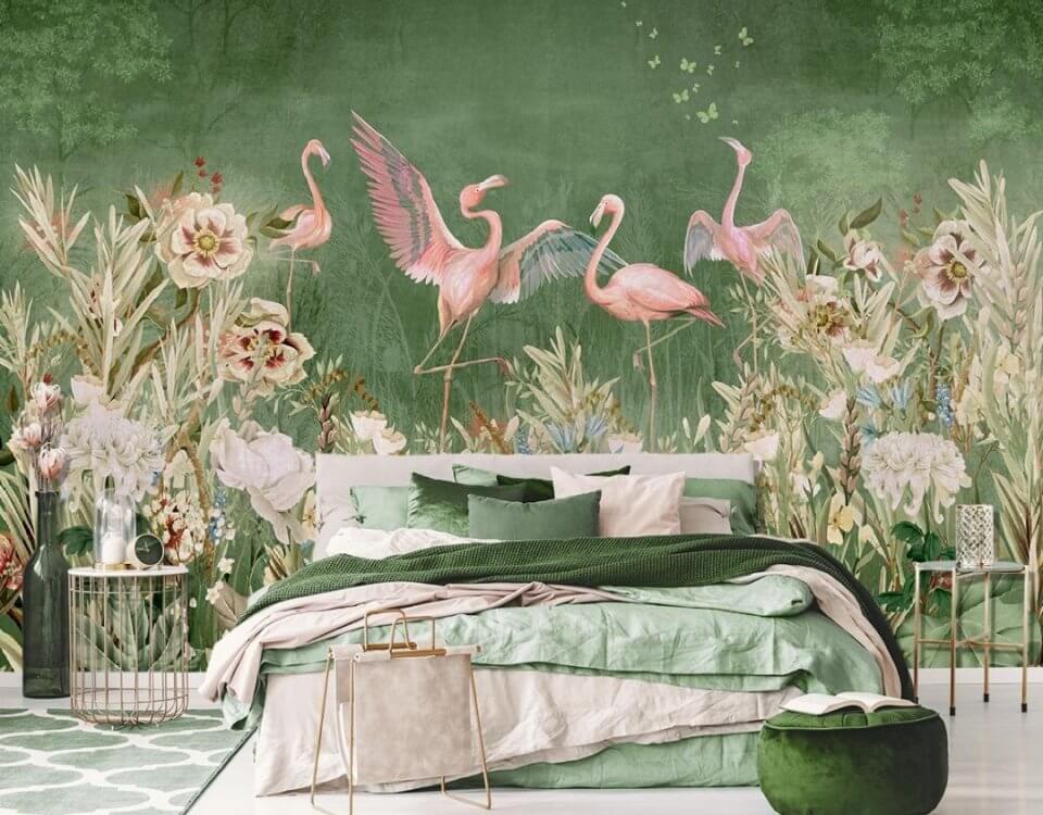 фотообои фламинго на стену