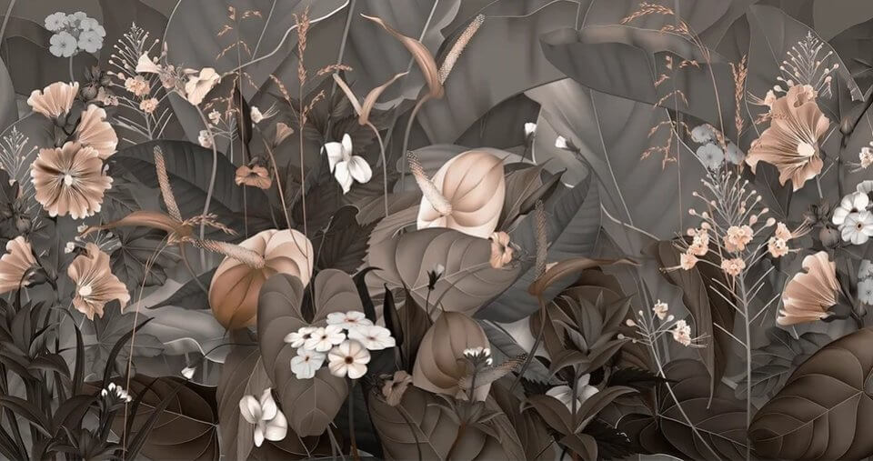 фотообои цветочный пейзаж на темном фоне