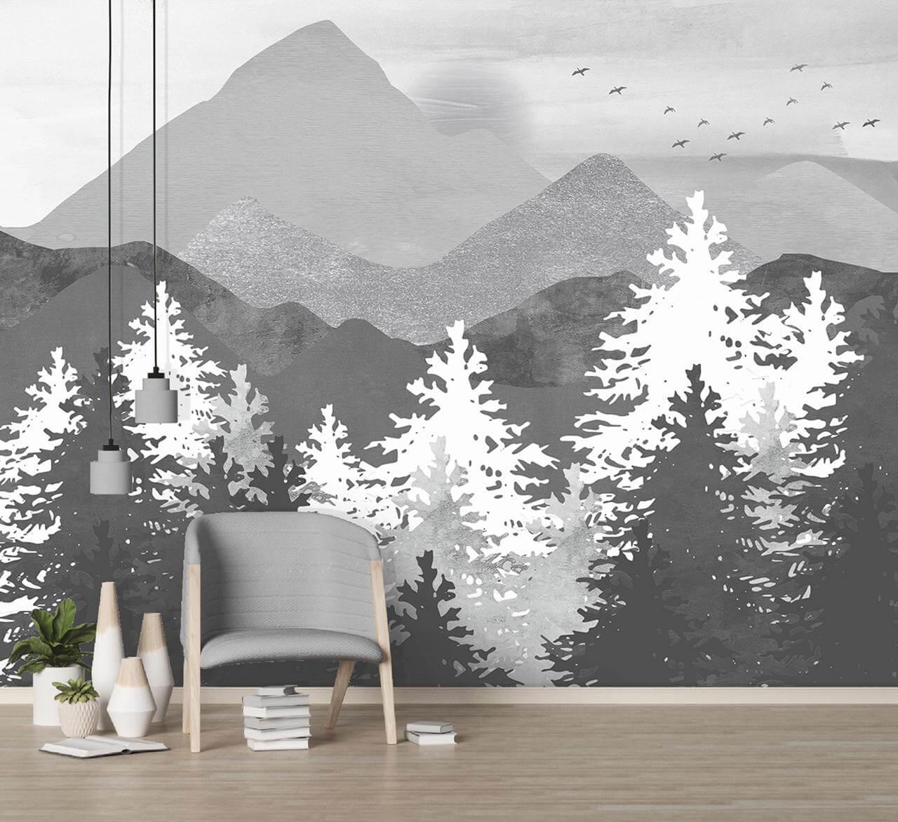 фотообои горы и лес в интерьере