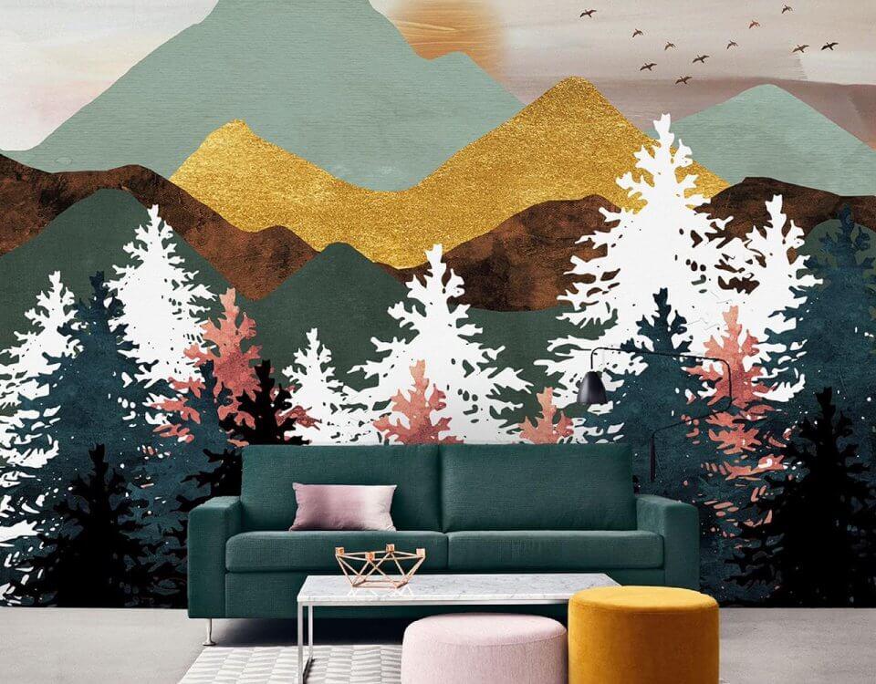 фотообои яркие горы на стену