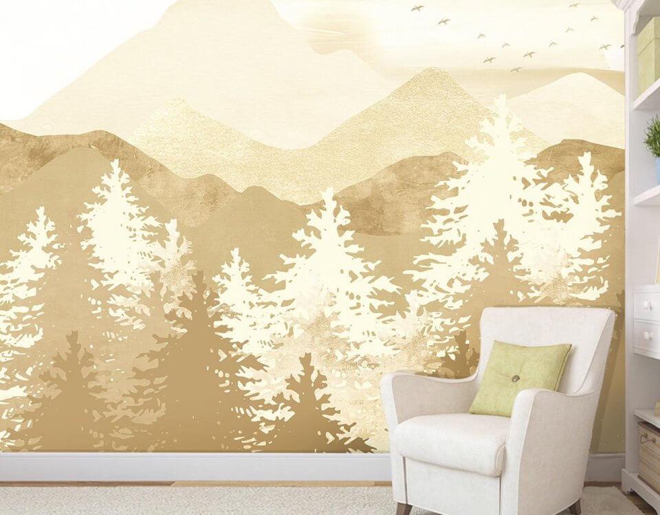 фотообои бежевые горы с лесом на стену