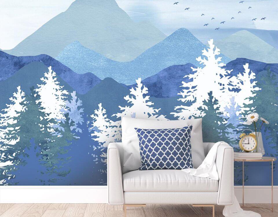 фотообои красивые горы с лесом на стену