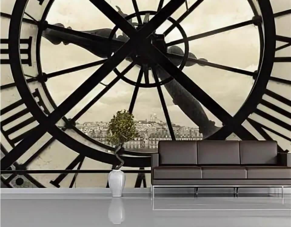 фотообои окно в виде часов Париж