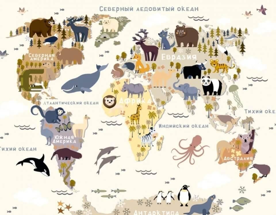 фотообои карта мира в детскую комнату