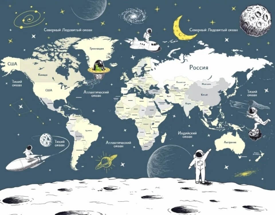 фотообои карта мира на стену печать