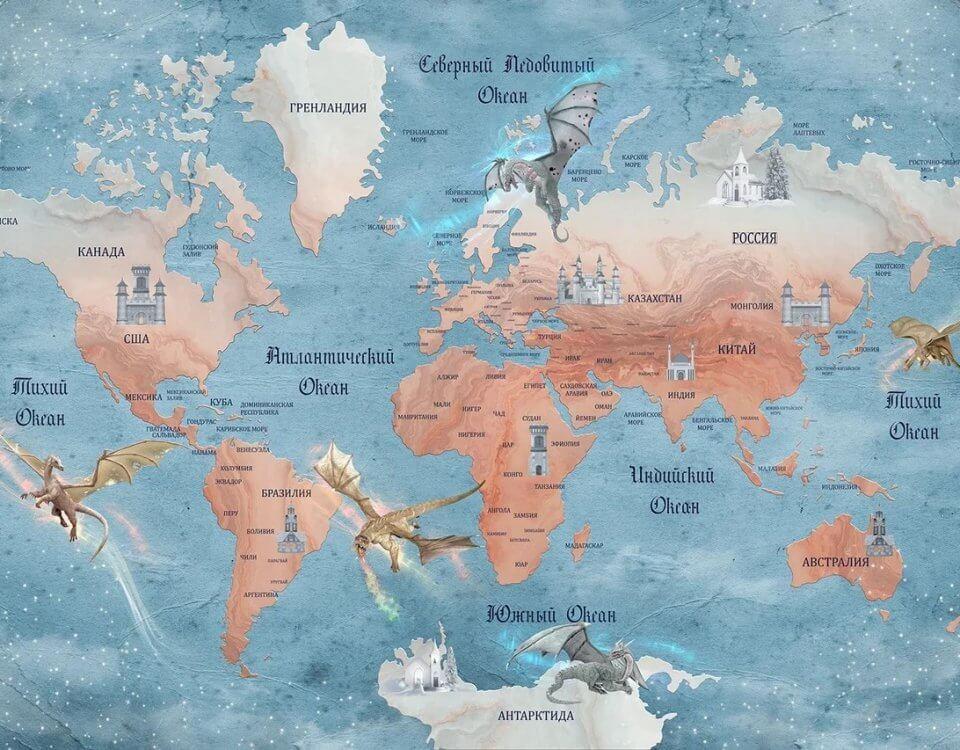 фотообои карта мира на стену в детскую