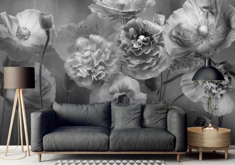 фотообои черно белые цветы на стену