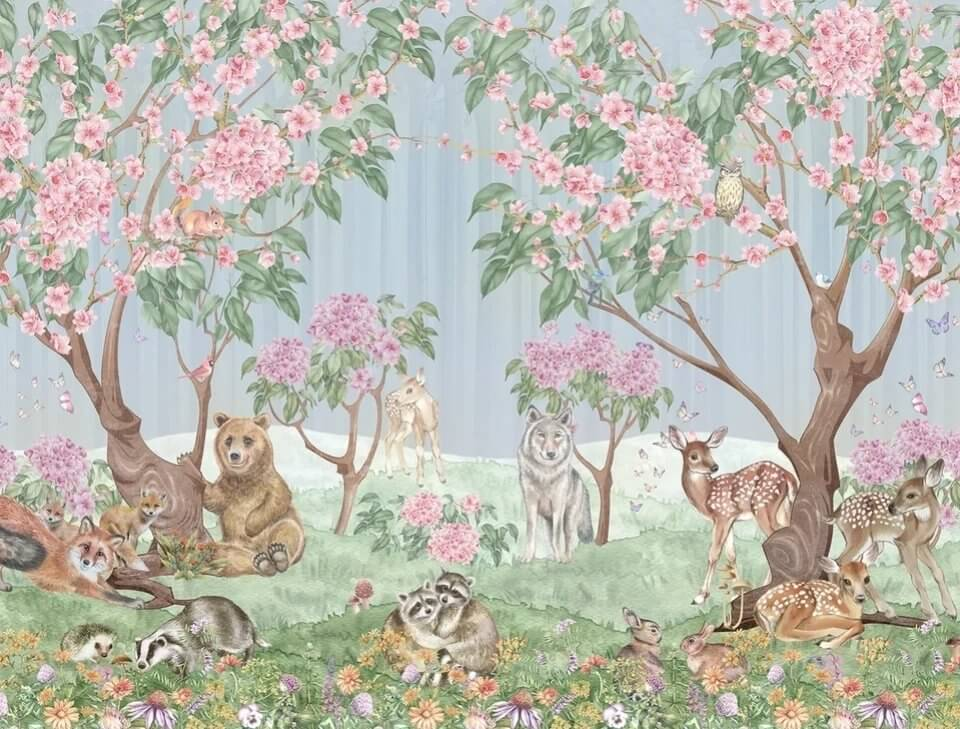 фотообои для детской лес с животными