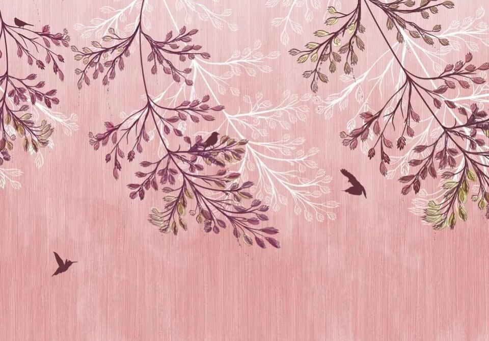фотообои птицы и ветви печать по своим размерам