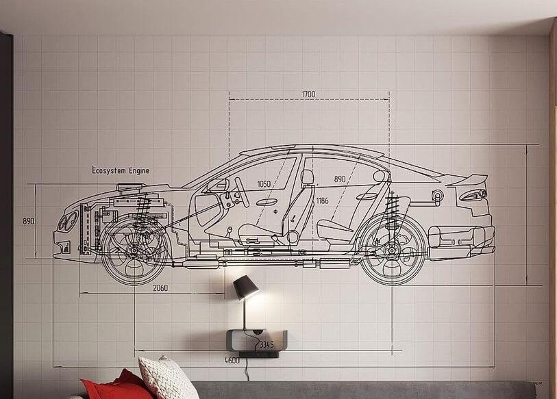 фотообои машина в деталях на стену