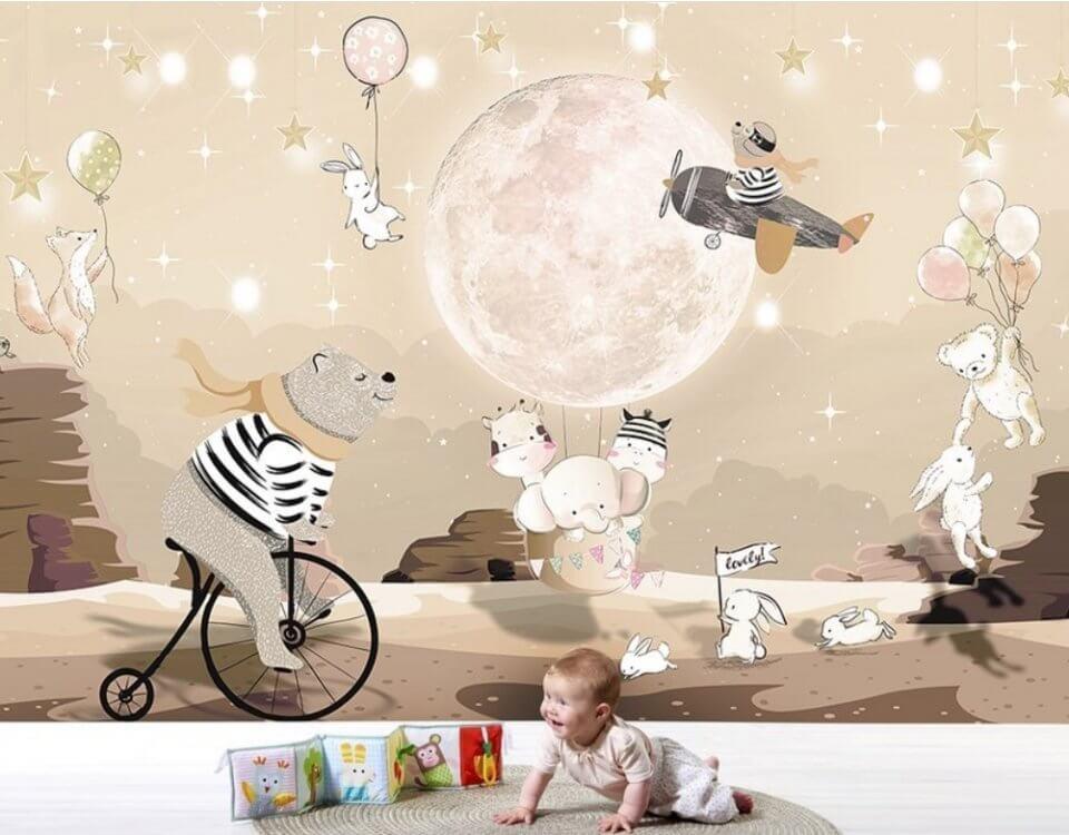 детские фотообои на стену с мишкой на велосипеде и луна