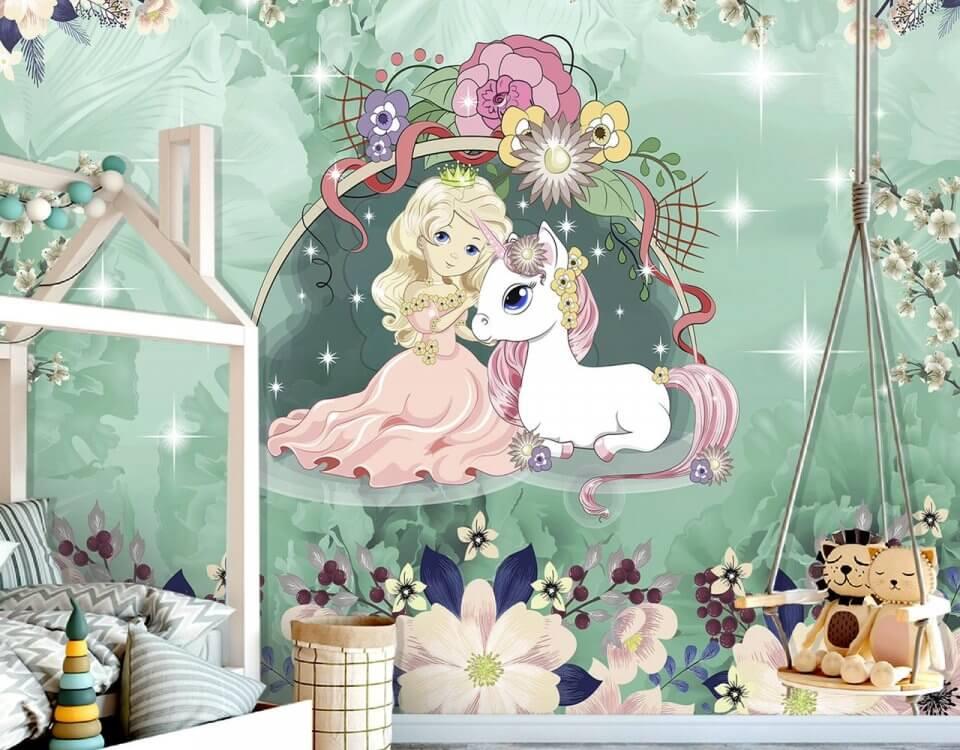 сказочные фотообои для девочки с едиинорогом